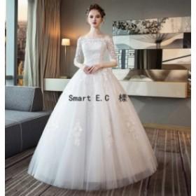 新作★ウェディングドレス 流れるドレープが美しいプリンセスラインドレス 結婚式や二次会 花嫁ドレス 海外挙式におすすめ一字の肩モップ