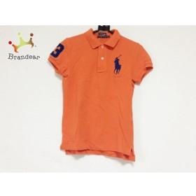 ラルフローレン 半袖ポロシャツ サイズM レディース ビッグポニー オレンジ×ネイビー 新着 20190719