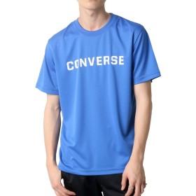 [コンバース] Tシャツ ドライ 吸汗速乾 ロゴ プリント 半袖 メンズ ブルー L:(身丈71cm 肩幅46cm 身幅52cm 袖丈24cm)