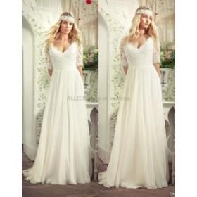 サイズオーダー可 ウェディングドレス シンプルなVネックAライン ノースリーブビーズ フォーマルウェディングドレスブライダルドレス
