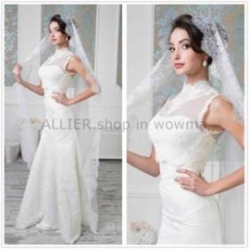 サイズオーダー可 ウェディングドレス ホワイト/アイボリーハイネックノースリーブウェディングドレスフロアレングスブライダルドレス