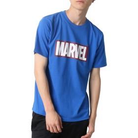 [マーベルコミック] Tシャツ ボックス ロゴ プリント 半袖 メンズ ブルー LL