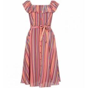 ユミ Yumi レディース ワンピース ワンピース・ドレス Stripe Print Midi Bardot Dress Multi-Coloured