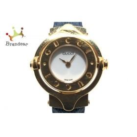 グッチ GUCCI 腕時計 - レディース バングルウォッチ/回転文字盤/型押し革ベルト 白 新着 20190721