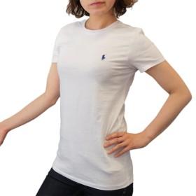 (ポロ ラルフローレン)POLO Ralph Lauren 半袖 Tシャツ ワンポイント レディース クルーネック ホワイト×ネイビー L [並行輸入品]