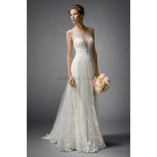 サイズオーダー可 ウェディングドレス シンプルなラインジュエルネック半袖レースアップリケウェディングドレスブライダルドレス