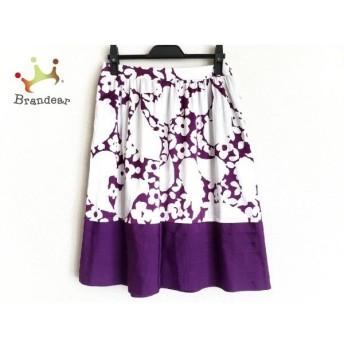 トゥービーシック TO BE CHIC スカート サイズ40 M レディース 美品 白×パープル 花柄 新着 20190721