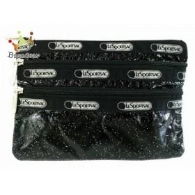 レスポートサック LESPORTSAC ポーチ 黒×ライトグレー×シルバー ラメ 化学繊維   スペシャル特価 20191023