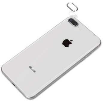 カメラレンズプロテクター iPhone 8 Plus/7 Plus用 PGA レンズ保護ガラス 表面硬度9H アルミ素材 シルバー PG-17LGA02 ◆メ