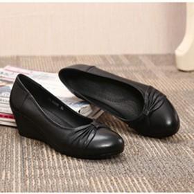 [NJI] ラウンドトゥ ウェッジヒール パンプス レディース 靴 ブラック 大きいサイズ 痛くない 黒 25.0cm ウェッジソール ウェッジ ウエッジヒール 歩きやすい ヒール レディース シューズ