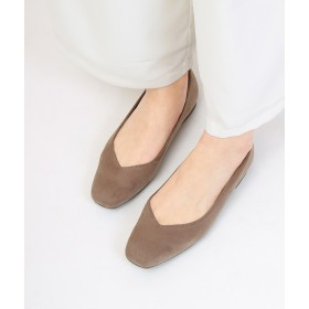 パンプス - Fashion Letter MADE IN JAPAN Vカット スクエアトゥフラットシューズ レディース パンプス 靴 ローヒール フラットシューズバレエシューズ コンフォートシューズ 履きやすい 軽い ぺたんこ 旅行 靴 通勤 立ち仕事 走れるパンプス レザー