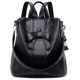 AINUOEY レディース リュック ミニ バックパック PUレザー ポシェット Mini Rucksack Pack Bag for Women ブラック