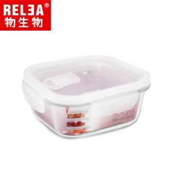 香港RELEA物生物 520ml正方形耐熱玻璃微波保鮮盒