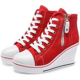 [AcMeer] ハイカット スニーカー レディース ウェッジソール サイドジップ カジュアルシューズ キャンバス 帆布 編み上げ ファスナー 身長6~8cm 歩きやすい 26.5CM 5色(白 赤 黒 ピンク ブルー 紺)