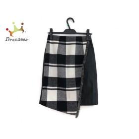 チェスティ スカート サイズ0 XS レディース 黒×グレー×アイボリー フェイクレザー/チェック柄 新着 20190722
