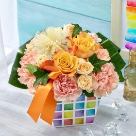 【日比谷花壇】ハッピーレインボーアレンジメント「オランジュ」