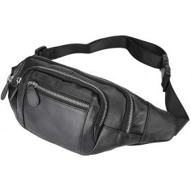 [(チョウギュウ) 潮牛] ナッパレザー 本革 ウエストバッグ メンズ ウエストポーチ ワンショルダーバッグ ボディバッグ 2WAY 自転車鞄 長財布対応 ブラック