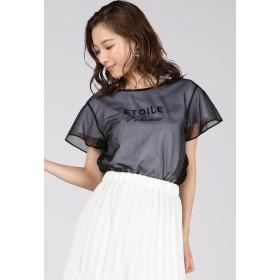 QUEENS COURT 《セットアイテム》《洗濯機で洗える》シャイニークレープロゴTシャツセット Tシャツ・カットソー,ブラック