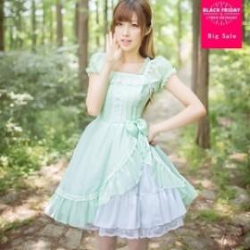 王室 おとぎ話 日本 柔らかい 姉妹 プリンセス ロリータドレス オリジナル シフォン 夏 かわいい ドレス