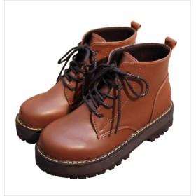 [MARON&CHOCO] マロンアンドチョコ レディース ショートブーツ 靴 厚底 ブーツ レザー (23.0, ブラウン)