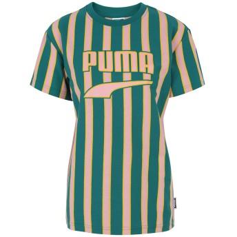 《期間限定 セール開催中》PUMA レディース T シャツ グリーン XS コットン 100% Downtown Stripe Tee
