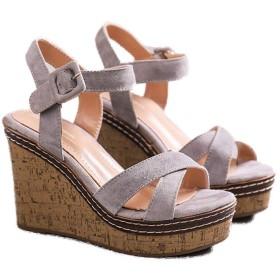 [lsjdln] 厚底サンダル 厚底 サンダル レディース ウェッジソール 歩きやすい ウエッジソール グレー ハイヒール 24.0cm おしゃれ ウェッジソールサンダル アンクルストラップ 痛くない スエード ストラップサンダル レディース靴