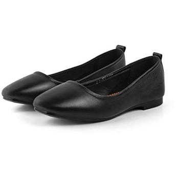 [Yikaifei] パンプス 晴雨兼用 フラットシューズ ローヒール レディース ストレッチパンプス シンプル リクルート 就活 出勤 婦人靴 履きやすく 学校 入学式 卒業式 参観日 上履き Black 25.0cm