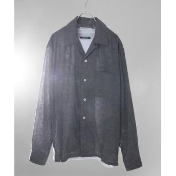 JOURNAL STANDARD 【 HERDMANS LINEN】オープンカラーシャツ ブラック A S