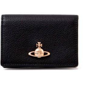 [名入れ可] ヴィヴィアンウエストウッド Vivienne Westwood 正規品 カーフレザー カードケース 名刺入れ メタルORB (名入れあり, ブラック)