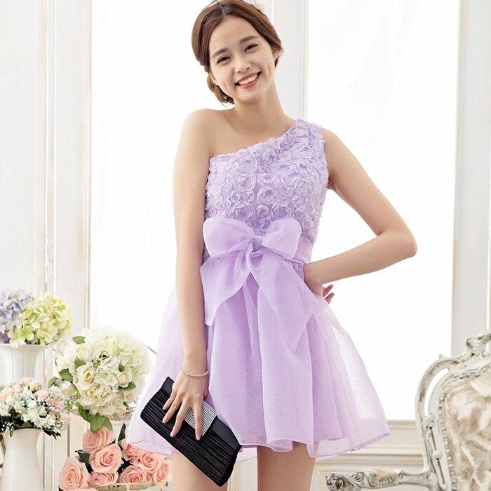 灰姑娘[6705-S]*甜美單肩玫瑰花繡片歐根紗蓬蓬裙襬小禮服~