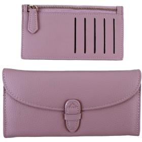 HKUN 長財布 レディース 大容量 財布 小銭入れ ロングウォレット エレガント カジュアル 二つ折り財布 人気 軽量 ピンク