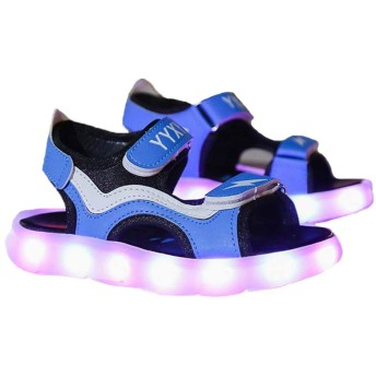 FADVES キッズサンダル 子供サンダル 7色 光る靴 USB充電式 LEDサンダル 光るサンダル 発光靴 発光シューズ 子供靴 ライトシューズ マジックテープ 通気 滑り止め 男の子 女の子(19.3cm、ブルー)