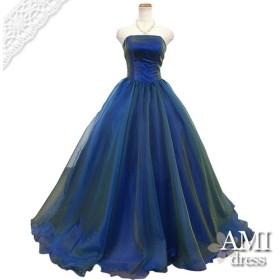 カラードレス 玉虫ブルー 5号7号 プリンセスラインドレス 花嫁 結婚式 二次会 10814