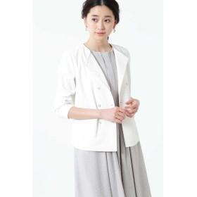 ◆[ウォッシャブル]麻混ダブルジャケット ホワイト
