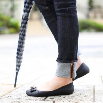 フラットシューズ - Fashion Letter レインパンプス レインシューズ フラット パンプス ローヒール リボン レディース 靴 シューズ おしゃれ 通勤 フラットシューズラウンドトゥ ぺたんこ 歩きやすい 痛くない 大きいサイズ 小さいサイズ 学生 ブラック アイボリ