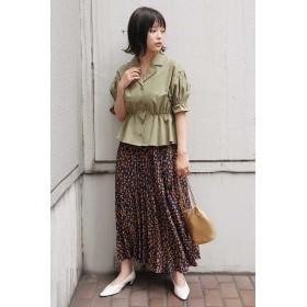 ◆レオパード変形プリーツスカート ネイビー×オレンジ1