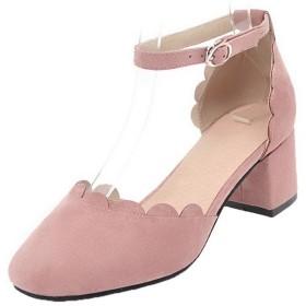 (ウンファッション) WeenFashion レディース バックル クローズドトゥ 中ヒール 純色 サンダル AMGLX009186 24.0cm ピンク