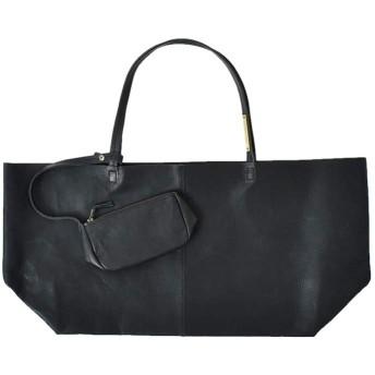 """(ユッキーノ)yucchino レザートートバッグ""""OTONA eco-bag L"""" L ブラック otona-eco-bag-l-l-black"""
