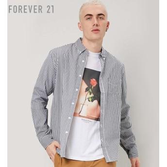 FOREVER21 フォーエバー21 【[MEN]ストライプコットンシャツ】(5,000円以上購入で送料無料)