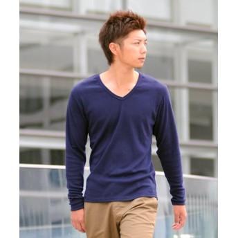 (SPADE/スペイド)Tシャツ ティーシャツ メンズ 長袖 ロングTシャツ ロンT インナー カットソー おしゃれ 黒 白 ホワイト 無地 プレーン/メンズ ネイビー