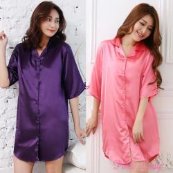 PinkLady 春夏絲質睡裙2件組(性感襯衫紫+瓜紅)005