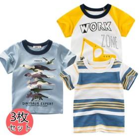 3枚セット!1枚366だけ!韓国子供服 半袖Tシャツ キッズ Tシャツ ペイント 子供服 綿100% プリント はん袖Tシャツ 男の子 女の子 ジュニア こども服 とってもかっこいい おしゃれな