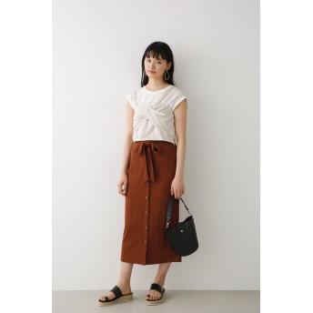 アヴァンリリィ Avan Lily フロントボタンカットスカート (ブラウン)