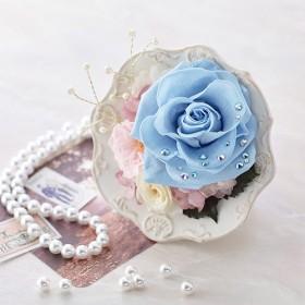 【日比谷花壇】プリザーブドアレンジメント ジュエルローズ「アクアマリン」