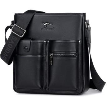 Whatnaショルダーバッグ メンズ メッセンジャーバッグ 縦型 ポケットが多 9.7インチipad収納可 ビジネスバッグ 小さい 斜めがけ バッグ 男性用 紳士用 黒 ブラウン(S8081) (黒-S8081)