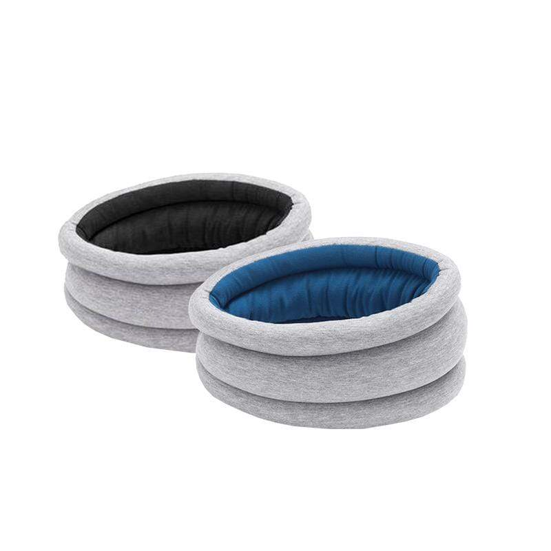 鴕鳥枕 雙色雙面圍脖款 兩入組 灰藍+灰藍