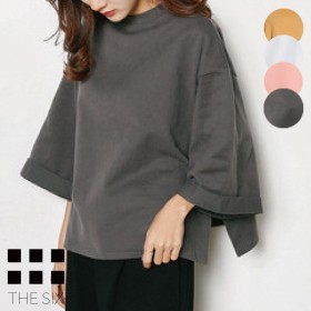 オーバーサイズ カットソー サイドスリット スウェット風 厚めTシャツ レディース 韓国 ファッション カットソー