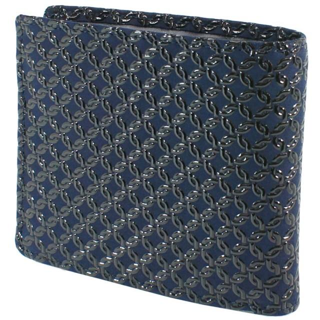 INDEN-YA 印傳屋 印伝 財布 二つ折り財布 メンズ 男性用 紺×黒 輪繋ぎ小 2008-04-177