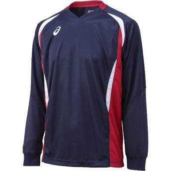 アシックス ASICS バレーボール用 ゲームシャツLS XW1326 [カラー:ネイビー×Vレッド] [サイズ:140] #XW1326