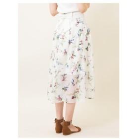 31 Sons de mode(トランテアン ソン ドゥ モード)【スカート】スパンオーガンジー花柄ロングスカート